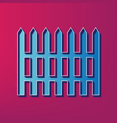Fence simple sign blue 3d printed icon on vector