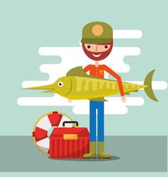 Fisherman fishing cartoon vector