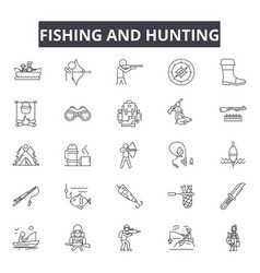 fishing and hunting line icons for web and mobile vector image