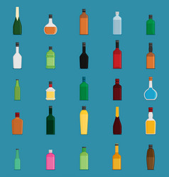 flat bottle with alcohol icon set vector image vector image