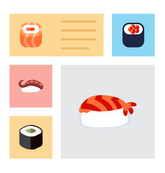 Flat icon maki set gourmet eating sashimi and vector