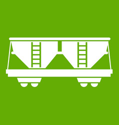 freight railroad car icon green vector image