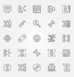 Genetics outline icons set genetic vector