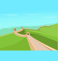 great wall of china in flat design vector image