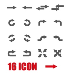 Grey arrows icon set vector