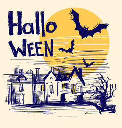 halloween card with text color hand drawn vector image