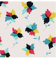 Hand drawn abstract flowers retro background vector