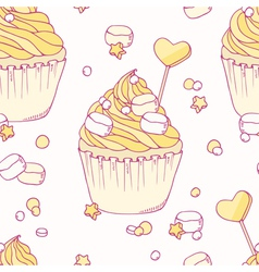 Hand drawn banana cupcake seamless pattern vector