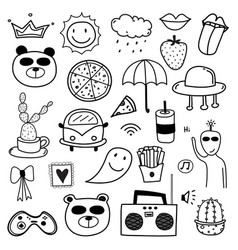 Hand drawn doodle lovely set vector