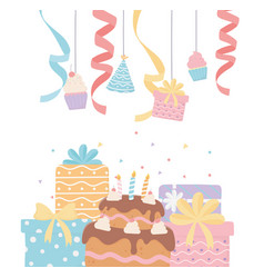 Hanging party decoration gift cupcake hat ribbon vector