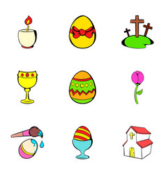 Happy easter icons set cartoon style vector