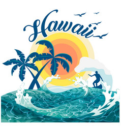 Hawaii surfing sea tree sunset background i vector