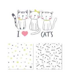 I love cats surface design and 2 seamless patterns vector