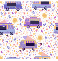 ice cream trucks summer bright seamless pattern vector image