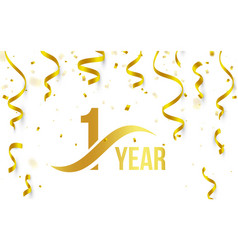 Isolated golden color number 1 with word years vector