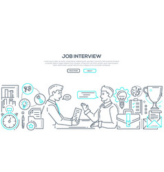 Job interview - modern line design style vector