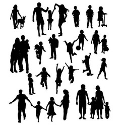 Kid and Happy Family Silhouettes vector