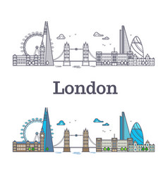 London city skyline with famous buildings tourism vector