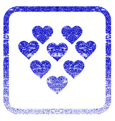 Lovely hearts framed textured icon vector