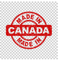 made in canada red stamp on isolated background vector image