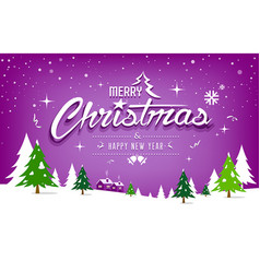 merry christmas tree and snow design on purple vector image