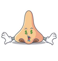 Money eye nose mascot cartoon style vector