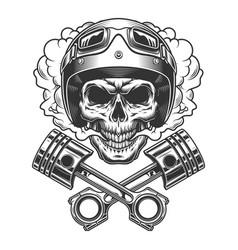 moto racer skull in smoke cloud vector image