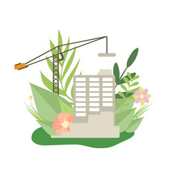 multi storey house in construction process house vector image