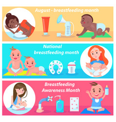 national breastfeeding month in august banner vector image