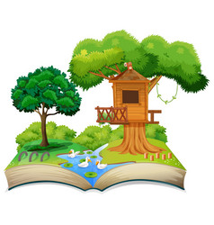 Nature treehouse on open book vector