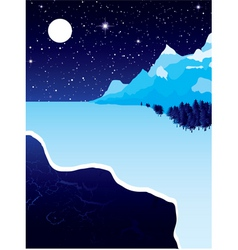 Night landscape with winter snow ice and starry sk vector