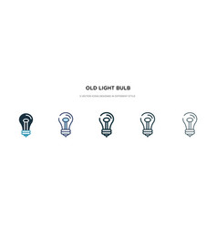 Old light bulb icon in different style two vector
