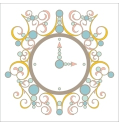 Old vintage clock with pink and blue vector