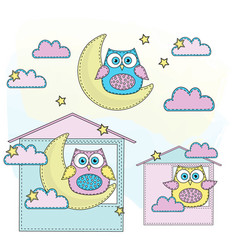 owl cartoon color set vector image