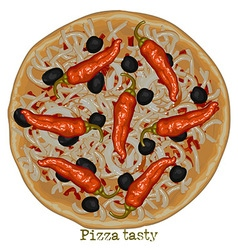 Pizza with bell peppers vector