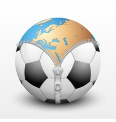 Planet Earth inside soccer ball vector image