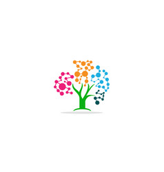plant tree technology connect logo vector image