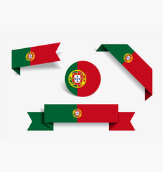 Portuguese flag stickers and labels vector