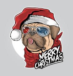 pug puppy dog santa claus christmas cute face artw vector image