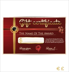 Red gift certificate vector image