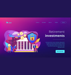 Retirement investments concept landing page vector