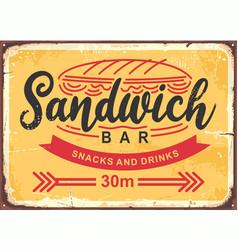 sandwich bar poster design in retro style vector image