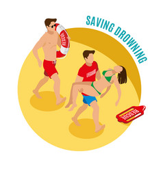 Saving drowning round design concept vector