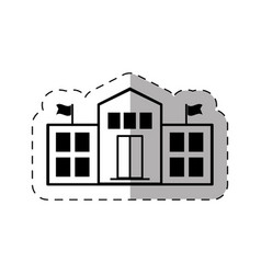 School college building thin line vector