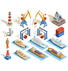 Seaport Isometric Set vector image