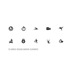 set of 10 editable fitness icons includes symbols vector image