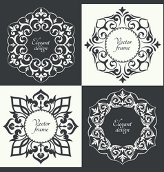 Set of circular baroque patterns vector