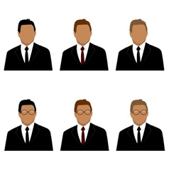 set of man in suit avatars vector image