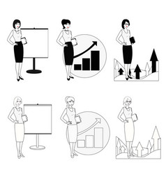 set of of a businesswoman in a black vector image