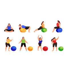 set of women doing fitness exercise isolated vector image